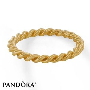 Pandora Twisted Stacking Ring 14K Gold Intertwined